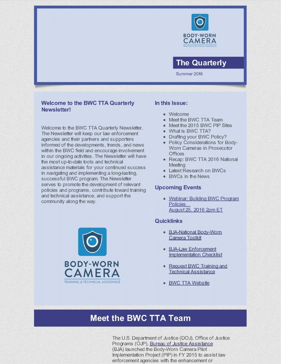 BWC TTA Quarterly Newsletter | BWC TTA